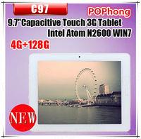 9.7 inch Windows 7 Tablet PC 3G SIM Card Slot 4G RAM 128G SSD Intel Atom N2600 Dual Camera C97