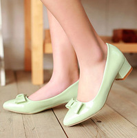 Summer 2014 NEW ARRIVAL Solid bowtie thick kitten squared pointed toe women shoes,woman single shoe,32-43