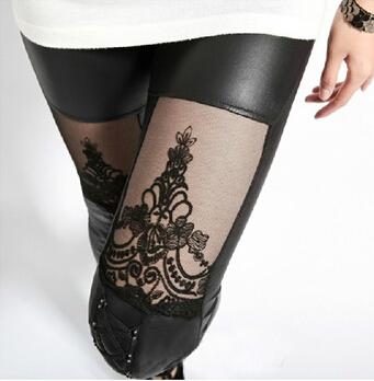 New 2014 Punk PU Leather Stitching Embroidery Bundled Hollow Lace Leggings for Women(China (Mainland))