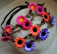 12pcs/lot Free shipping women daisy flower headband girls Flower Crown, Floral Crown, ladies  Flower Headband, Hair Wreath