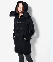 High quality fashion design wool long horn button hooded thick large fur collar slim woolen outerwear woolen overcoat Y8P01 TP1