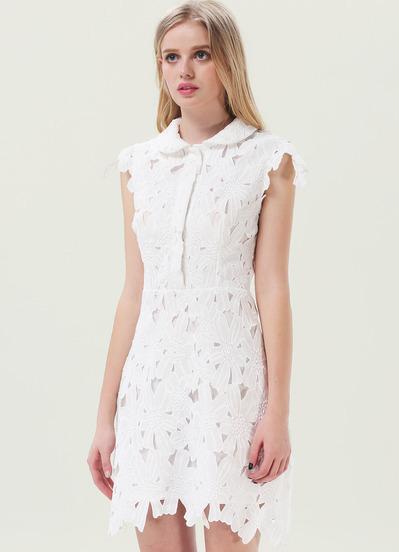 2014 New Summer Celebrity Women Fashion White Short Sleeve Embroidery Sheer Lace Classy Dress(China (Mainland))