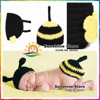 Sunshine store #3C2642 5 set/lot 2014 Spring Newborn Fashion Photography Props Bodysuit Set baby Handmade bee stripe Crochet hat