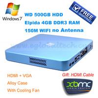 SPDIF Port Barebone Mini PC AMD E350 Computer HTPC 4GB DDR3 500GB HDD Embedded Linux XBMC PC TV Box HDMI Wallet VESA PC