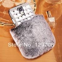 Bling Big Rhinestone Crystal Diamond Flash Retail Soft Genuine Rabbit Fur Case for Galaxy S3 S4 Note 2 3 i9300 i9500 N7100 N9000