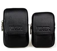 Black Genuine Leather Waist Bag Fanny Pack for Men Waist Pack Travel Belt Bag Mobile Phone Pouch Casual Bum Bag Money Belt
