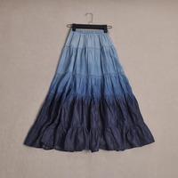 Super popular What's Hot Women's high quality vintage fashion all-match denim gradient color bust skirt long skirt