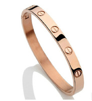 OMH wholesale jewelry 2014 Lovers fashion Eternal 18KGP Rose gold or Real 925 silver bangles