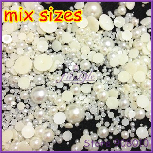 Big Sale 30Gram About 2000pcs Mixed Size 2-18mm Craft ABS Flatback Half Round Pearls Rice Scrapbook Beads(China (Mainland))