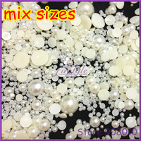Big Sale 1000pcs 30Gram Mixed Size 2-18mm Craft ABS Flatback Half Round Pearls Rice Scrapbook Beads