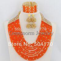 2015 Latest New Orange and Gold Nigerian Wedding Beads Jewerly Set African Bridal Jewelry Set Christmas Gift Free Shipping GS116
