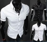 Free shipping 2014 new style Men's Fashion casual Short Sleeve Shirts high quality Summar Slim Shirts MCS026
