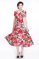 5XL middle-age women Summer milk silk V-neck dress mother clothing plus size full dress