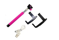 F08014 Wireless Bluetooth Rectractable Handheld Monopod Tripod Pink for Android Mobile Phone +US FreeShip