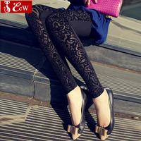 black leggings for women fashion Trousers new spring  2015 slim print vintage lace pants & capris female casual Ninth pants