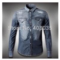 free shipping 2014 new fashion men brand DSQ shirts designer D2 jacket spring and autumn shirts cowboy shirts for men 324