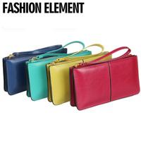 2014 Women wallet zipper cowhide genuine leather women's long design day clutch card holder clutch coin purse  Drop shipping