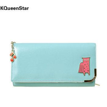 [ ES ] 2014 Новый корейский моды Глянцевая Сова Кулон Дамы Длинный кошелек Примечания Папка Женщины бумажники сцепления Сумочка Кошелек сумка