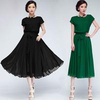 2014 New Bohemian Women Summer Chiffon Ankle-Length Long Dresses short sleeve Vest Dress Vestidos, 2 Colors, M, L, XL Z1029