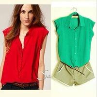 2014 Fashion European and American Summer Women Girls Clothes Chiffon Sleeveless Causal Chiffon blouse 4 colors A2011