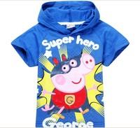 New 2014 Summer 100% Cotton Fashion Cartoon Print Peppa Pig Hoodies Children T Shirts,Girl Boys Clothes,Kid Unisex Clothing 5467