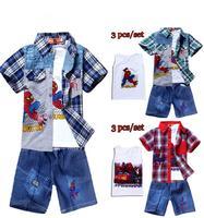 Hot sale New 2015 Summer Plaid Cartoon Print Spiderman 3PCS Shirt jeans vest clothing set Boys Clothes Children Suit 5473