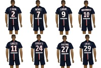 Best quality 2014/15 T.SILVA MENEZ CAVANI football shirt equipment kit IBRAHIMOVIC LAVEZZI LUCAS soccer jersey uniform set 14 15