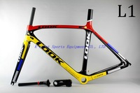 2013 LOOK 695 LIGHT Mondrian Carbon Road bicycle Frame with integrated Aerostem and crankset carbon road bike,sizeXS/S/M/L