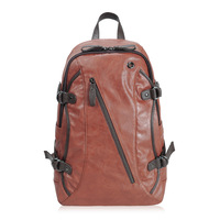 Free shipping new 2014  Oblique zipper leather large capacity backpack 12073 - 3 120533