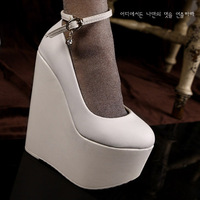 New Fashion platform sexy ultra high heels shallow mouth single shoes strap elegant fashion wedges platform all-match PU female