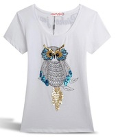 Hot New 2014 fashion Beading Diamond Sequins Owl animals Women's Cotton T-shirt  Tshirt summer T shirt GT13