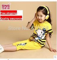 Trademark Children'S Clothing Female Child 2014 Summer Child Girls Clothing Sports Casual Cartoon Fashion Set