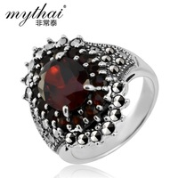 925 pure silver thai silver jewelry vintage red zircon gem wedding ring female