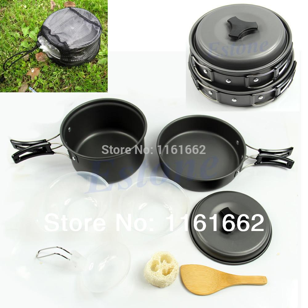2014 Hot Sale Plate No Hot Sale 8pcs/set Outdoor Camping Hiking Cookware Backpacking Cooking Picnic Pot Pan Set Drop Shipping(China (Mainland))