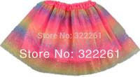 Free Shipping New Summer Rainbow Baby Girl Skirt Pettiskirts Tutu Skirts Ball Gown Princess Fluffy Pettiskirt Baby Tulle Tutu
