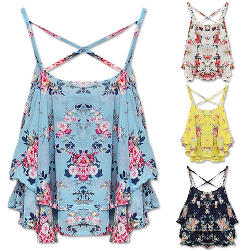 FanShou Free Shipping 2014 Fashion Women Summer Top Sleeveless Spaghetti Strap Flower Floral Print Chiffon Top Women Blouse(China (Mainland))
