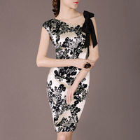 2014 summer Office ladies'  elegant ribbon decorated silk floral print plus size dresses 2 styles S~XXL