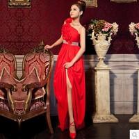 Prom Dresses 2014 fashion new party elegant long evening dress rose one shoulder flower red crystal long prom dress Hot sale