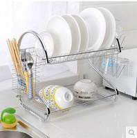 Two Layer Stainless Steel Kitchen Utensils Storage Tripod Kitchen Dish drain rack tableware storage rack Free Shipping