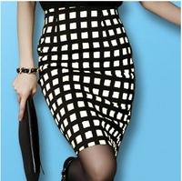 2014 OL Bust Skirt Black White/Yellow Plaid Skirts Slim Gentlewomen Elegant High Waist Slim Hip Skirt Large Size S M L XL XXL