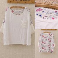 353 2014 Brand Cute Plus size Sweet Lace Pocket Shirts Printed Women Patchwork Batwing Sleeve Crop Tops T Shirt Chiffon Blouse