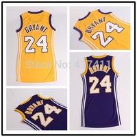 Kobe Bryant Women Basketball Dress ,#24 Kobe Bryant Yellow Purple New Rev 30 Embroidery Lgos Basketball Sportswear Free Shipping