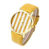 10pcs/lot Geneva Gold dial Casual Watch striped surface PU Strap Unisex Quartz Watches Analog Wristwatch 2014 RD01