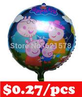 Free shipping 50pcs/lot 45*45cm peppa pig famliy ballon for birthday decoration 18 inch round  foil balloon Helium  baloes