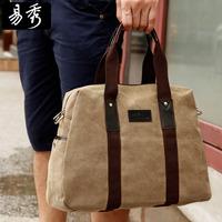 New 2014 Eshow Brand Large Vintage Canvas Handbag Dark Khaki Black Briefcase Men's Bags BFK008301
