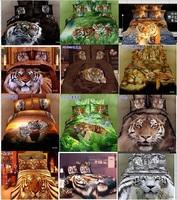 hot sale luxury 3D 100%cotton tiger bedding bed sheet set bedclothes bedlinen quilt cover set bedding set