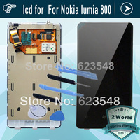 original lcd screen with touch display digitizer assembly with frame For Nokia lumia 800 black + tools
