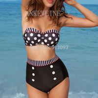 Hot 2014 Fashion Brand for Woman Sexy Brazilian Cutest Retro Push Up PAD Swimsuits High Waist Swimwear Beachwear Bikini V246