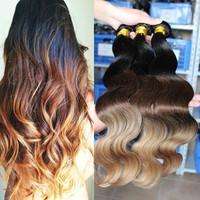 Cara Hair Products Body Wave Brazilian Virgin Hair Extension Human Hair Weaves 3pcs Ombre Hair Extensions three tone 1b/#4/#27