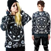 New 2014 Fashion skull killstar ktz geometry print loose long-sleeve lovers sweatshirt factory wholesale Free Shipping 1122